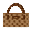 Bag ladies wicker decorated with leather and