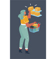 beautiful woman with shopping basket vector image vector image