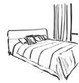 bedroom interior sketch hand drawn furniture vector image vector image