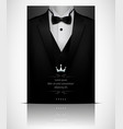 black suit and tuxedo with black bow tie vector image vector image