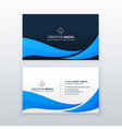 blue wave business card design template vector image vector image