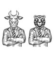 bull bear businessmen engraving vector image vector image