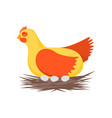 cartoon character happy hen and nest vector image