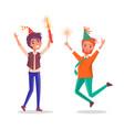 cartoon men celebrating birthday party fireworks vector image vector image