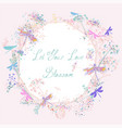 cute greeting card with rustic pink blue florals vector image