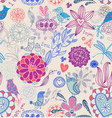 Floral seamless background with birds vector image