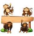 Four monkeys and wooden sign vector image vector image