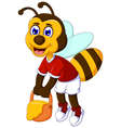 funny bee cartoon carrying honey vector image