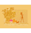 Girl silhouette walking with her dog in autumn vector image vector image