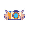 hands with photography objects isolated icon vector image vector image