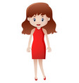 happy woman in red dress vector image