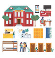 hostel set flat isolated vector image vector image