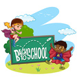 Kids and back to school sign vector image vector image