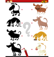 kindergarten shadow task with dogs vector image vector image