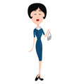lady in blue on white background vector image vector image