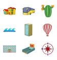 landscape element icons set cartoon style vector image vector image