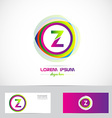Letter Z circle logo pink green vector image vector image