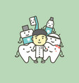 male dentist and best friend of healthy tooth vector image vector image