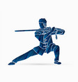 man with sword action kung fu pose graphic vector image