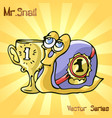 mr snail with cup vector image vector image
