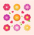paper cut flowers - set modern colorful vector image vector image
