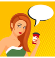Pop art of woman with speech bubble and a tea or vector image vector image
