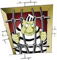 Prisoner behind bars cartoon vector image vector image