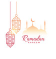 Ramadan kareem greeting design with hanging lamps vector image