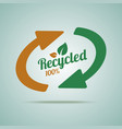 Recycled sign for organic products vector image vector image