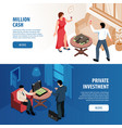 rich people isometric banners vector image