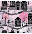 Seamless pattern with fairy tale houses lanterns s vector image vector image