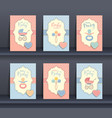 set of baby invitation cards vector image vector image