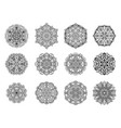 set of flower mandala on white background vector image vector image