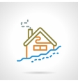 Simple color line winter house icon vector image