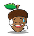 sweat smile acorn cartoon character style vector image vector image