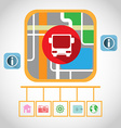 Travel by Bus GPS Navigation Map vector image