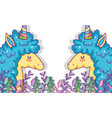 unicorns animals with flowers and branches leaves vector image