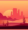 western desert sunset background natural scenery vector image vector image