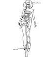 woman demonstrating dresses walking along catwalk vector image vector image