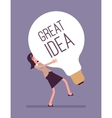 Woman dragging a giant light bulb Great Idea vector image