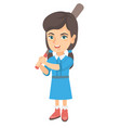 young caucasian girl playing baseball vector image vector image