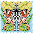zebra and tiger with tropical leaves sun mirror vector image
