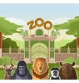 Zoo gate with african flat animals vector image vector image