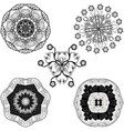 set from five black and white mandalas vector image