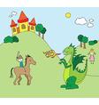 Kids drawing style dragon scene vector image