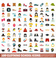 100 clothing school icons set flat style vector image