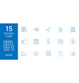 15 data icons vector image vector image