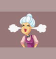 angry senior woman cartoon