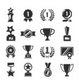 award for competition winner black icon set vector image