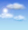 Blue Sky with Sunlight and Fluffy Clouds vector image vector image